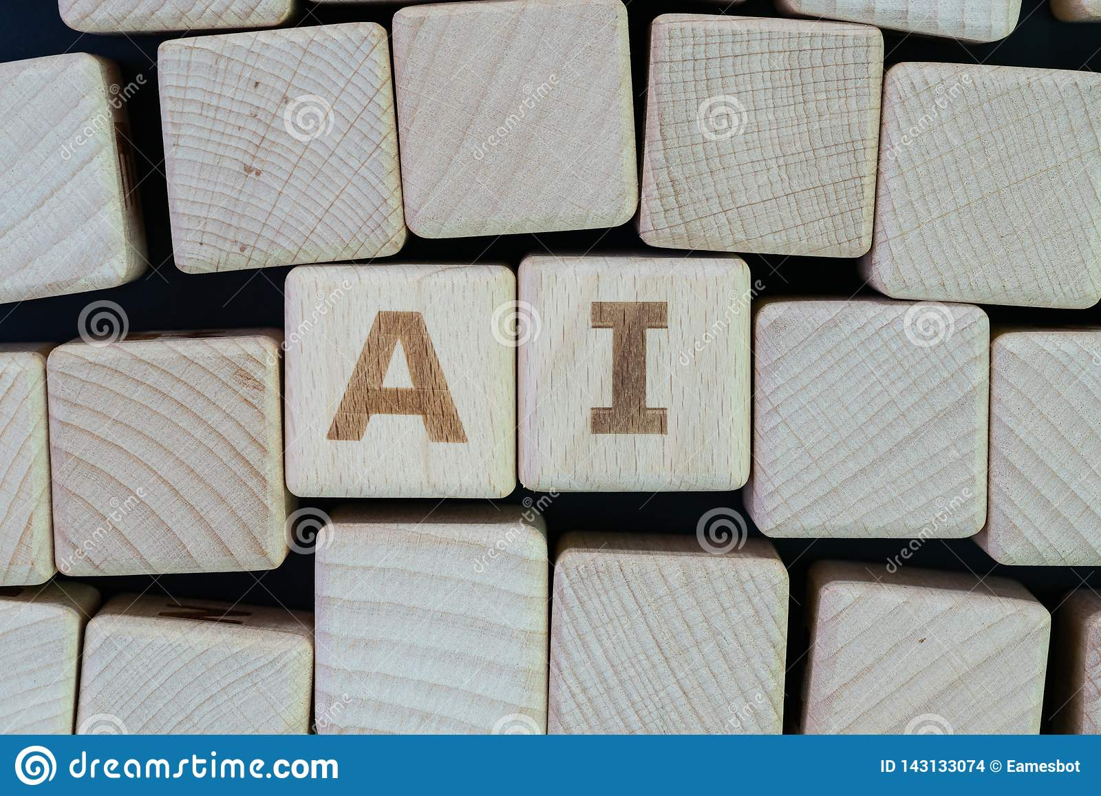 AI, Artificial Intelligence or machine learning in future world concept, straggle cube wooden blocks with some combine the word AI