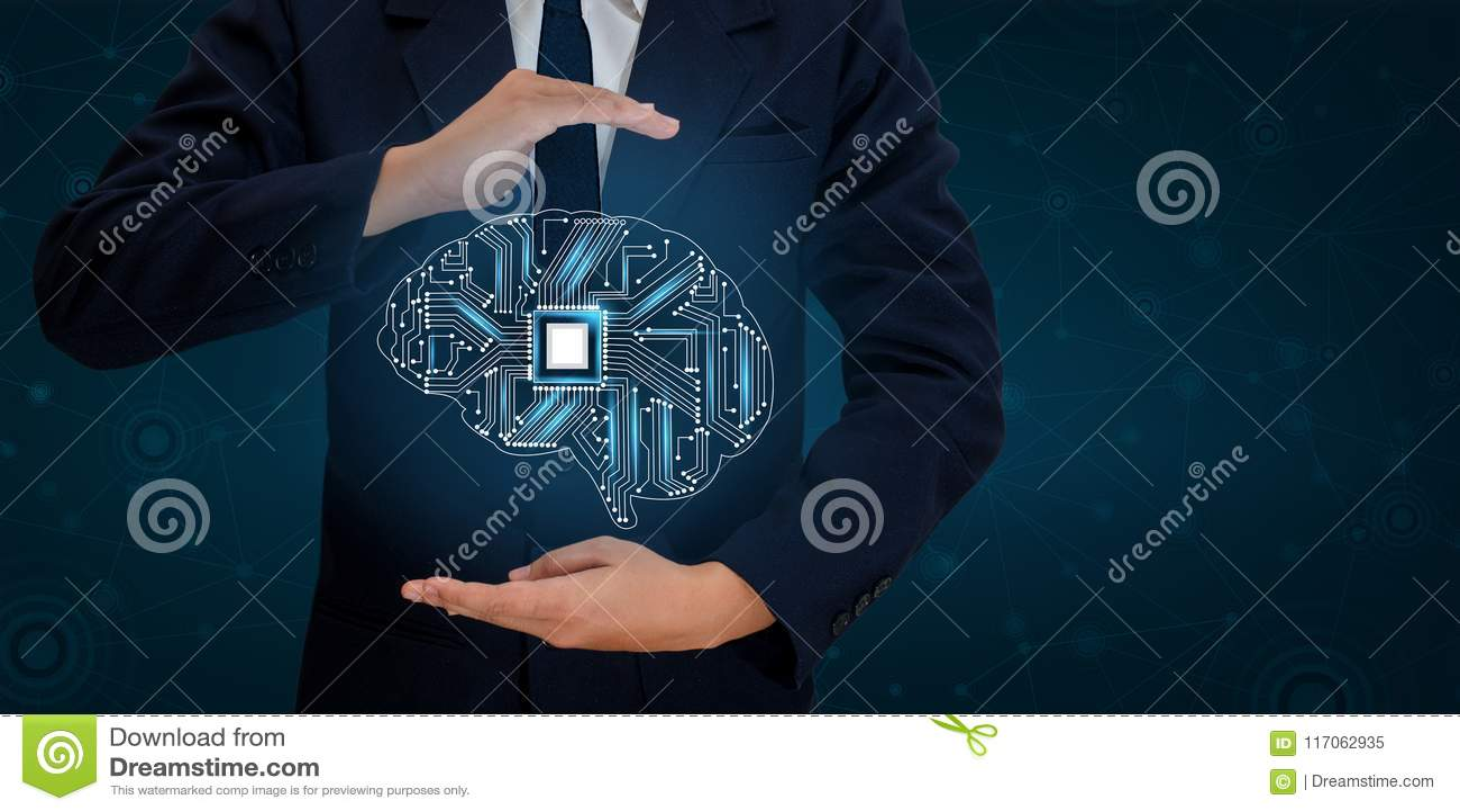 AI Hand de Bedrijfsmensen drukken de telefoon Brain Graphic Binary Blue Technology