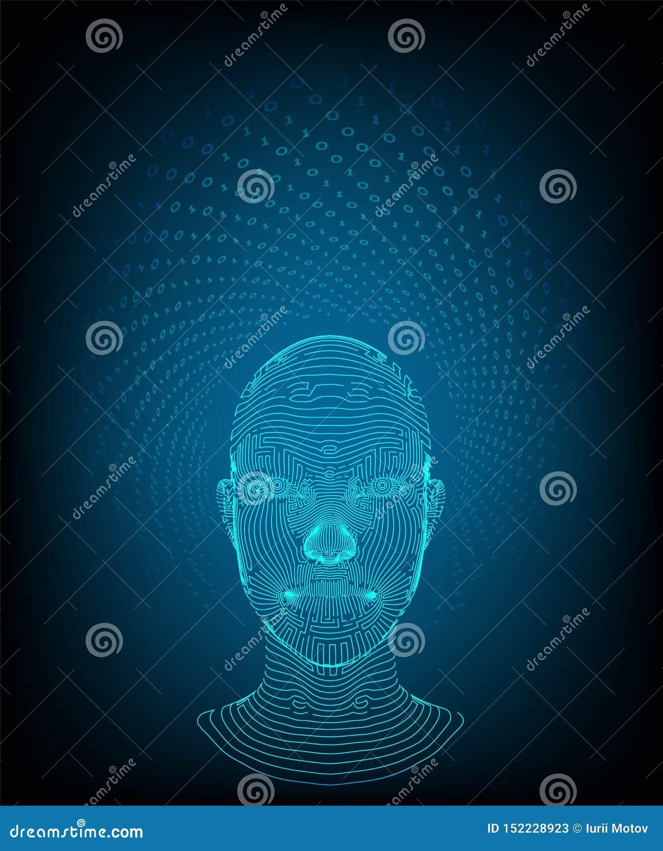 Ai Het concept van de kunstmatige intelligentie Ai digitale hersenen Abstract digitaal menselijk gezicht Menselijk hoofd in robot