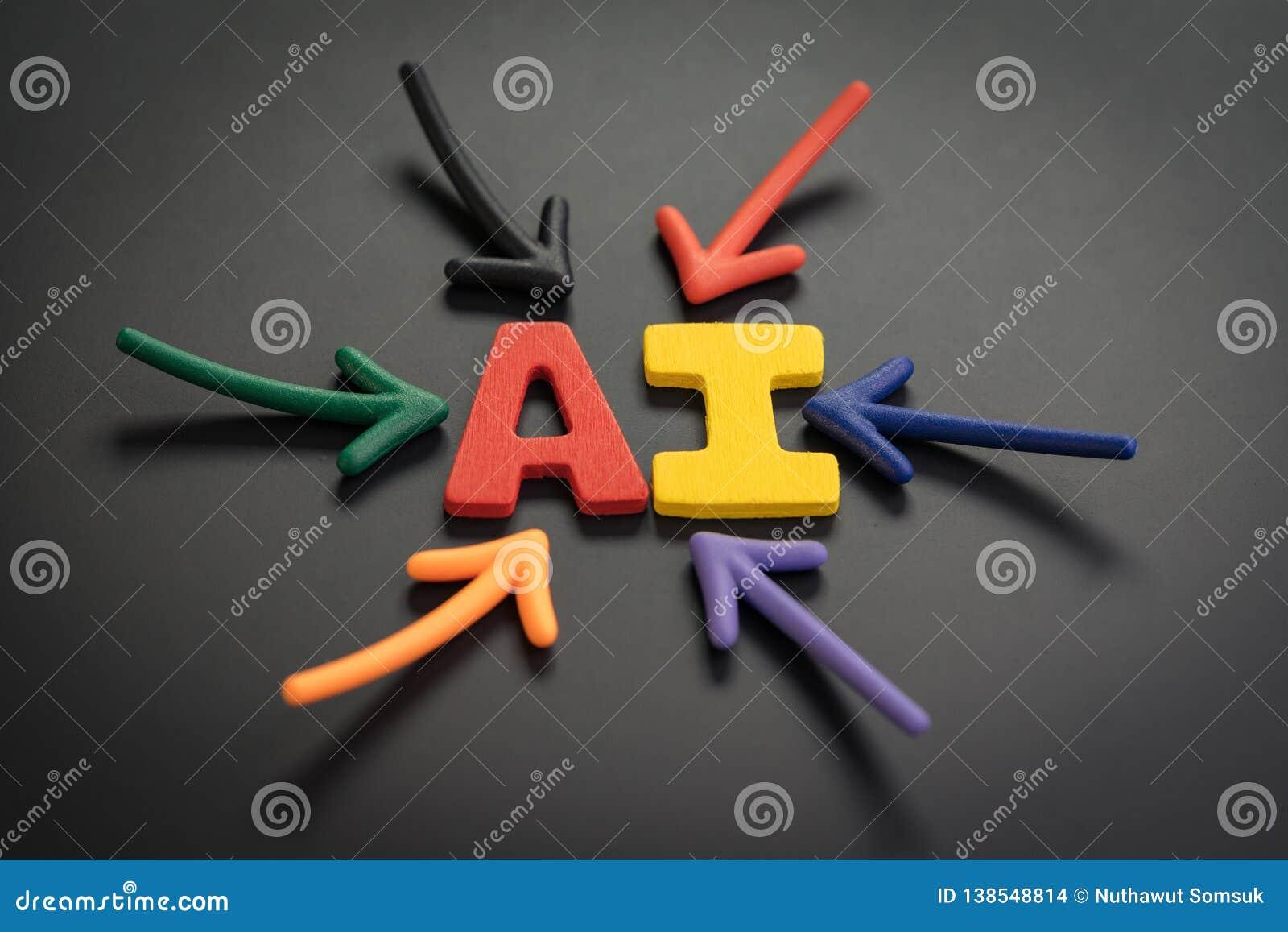 AI het Kunstmatige intelligentieconcept, kleurrijke pijlen die aan het alfabet richten combineert acroniem AI op het heldere cent