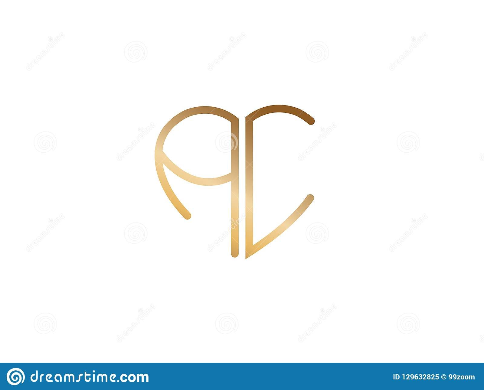 Ai Initial Heart Shape Gold Colored Logo Stock Vector