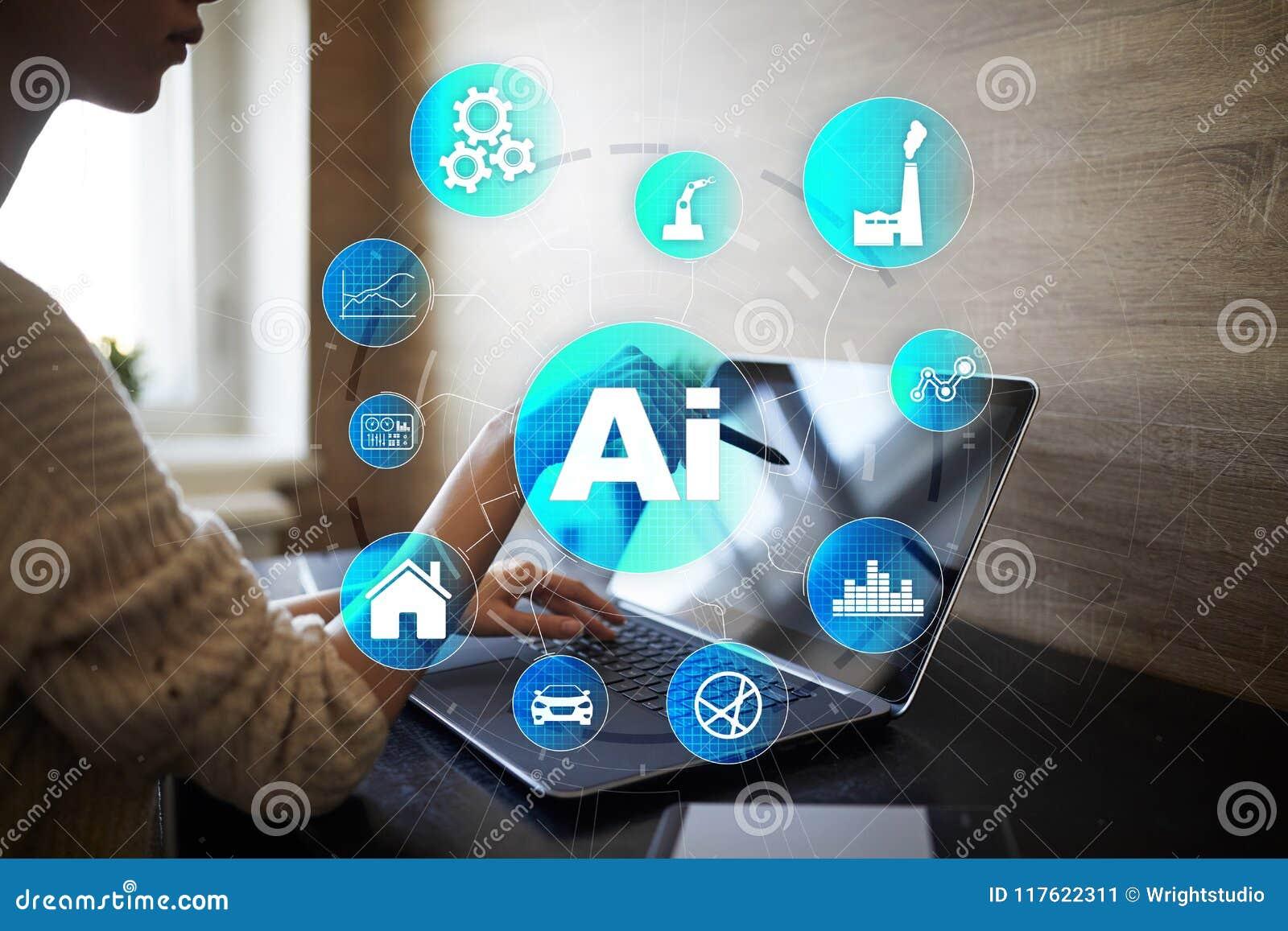 AI, inteligencia artificial, aprendizaje de máquina, redes neuronales y conceptos modernos de las tecnologías IOT y automatizació