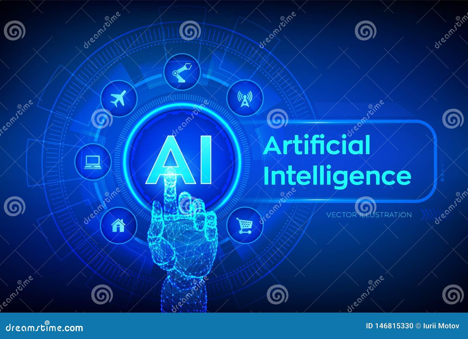 Ai Inteligencia artificial Aprendizaje de máquina, tecnología grande del análisis de datos y de la automatización en negocio e in