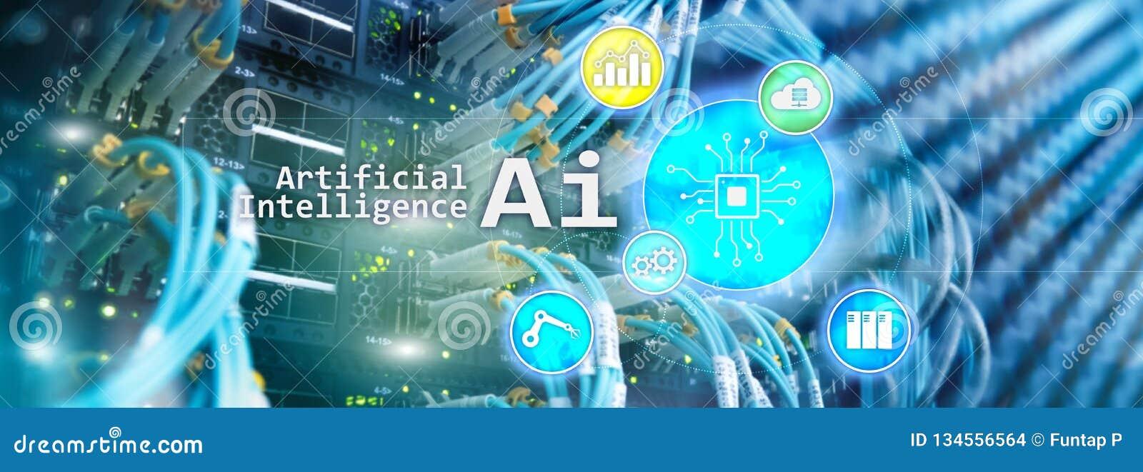 AI, inteligencia artificial, automatización y concepto moderno de la tecnología de la información en la pantalla virtual