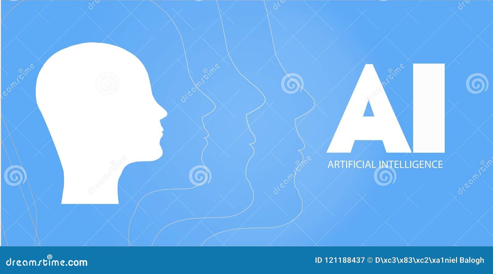 AI, inteligencia artificial, profundamente aprendizaje y diseño de concepto futuro de la tecnología - ejemplo del vector AI - Int