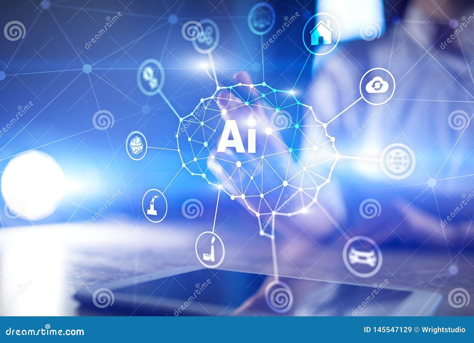 AI - Inteligencia artificial, tecnolog?a e innovaci?n elegante en negocio de la industria y concepto de la vida en la pantalla vi
