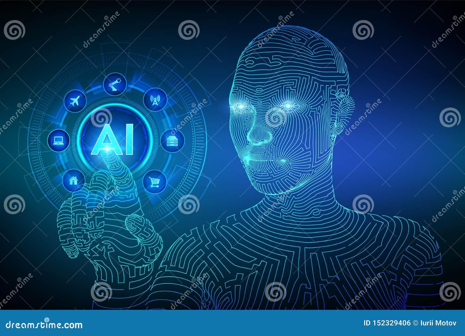 AI Intelligence artificielle Apprentissage automatique Main femelle de cyborg de Wireframed touchant l interface num?rique de gra