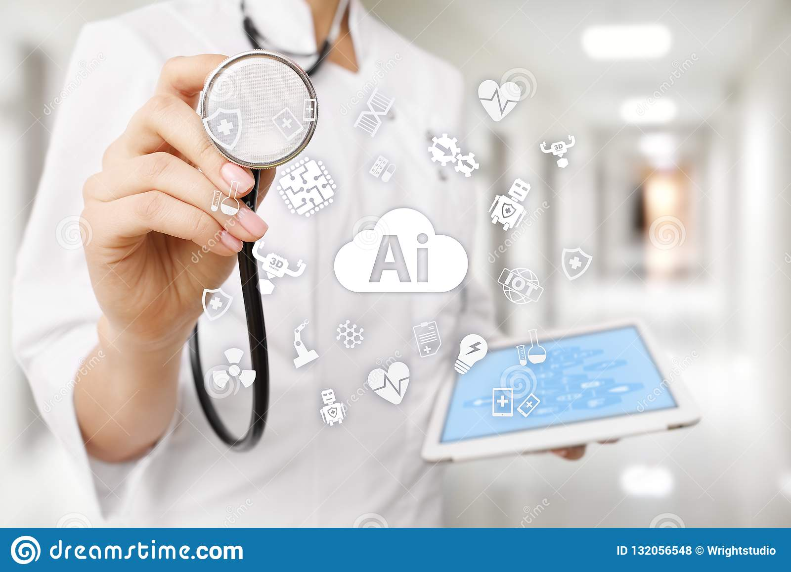 AI, intelligenza artificiale, nella tecnologia medica moderna IOT e automazione
