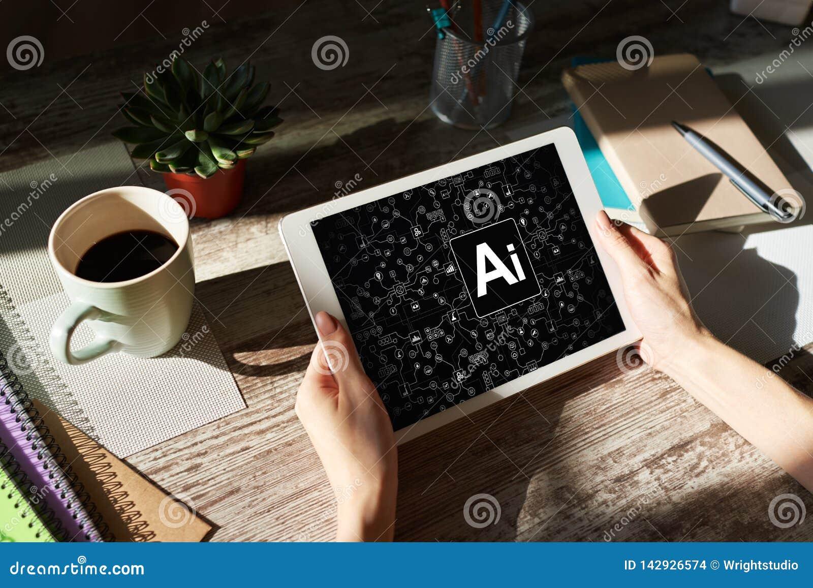 AI - Konstgjord intelligens, internet, IOT och automationbegrepp