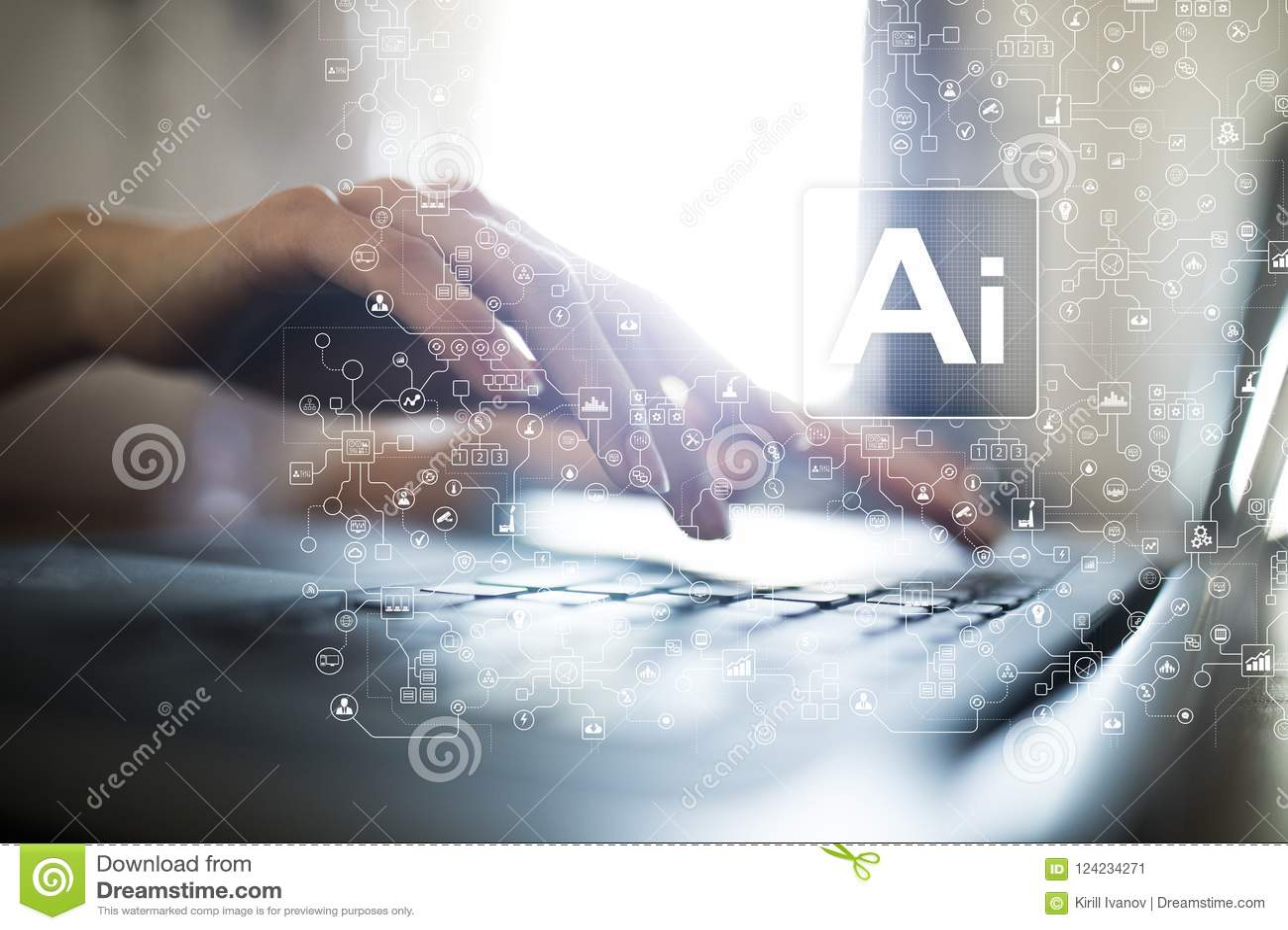 AI, Kunstmatige intelligentie, machine, neurale netwerken en moderne technologieënconcepten die leren IOT en automatisering