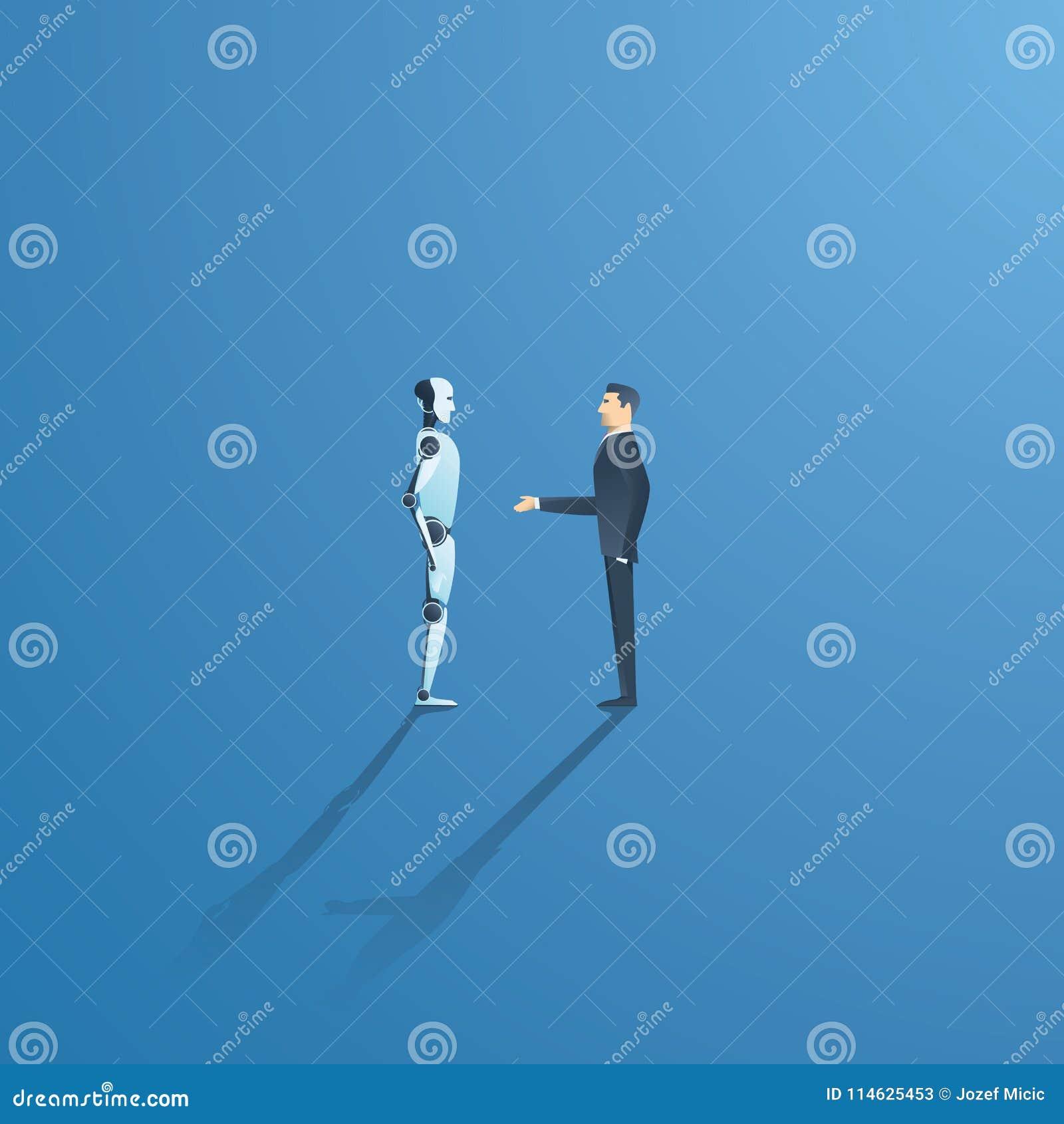 Ai of kunstmatige intelligentie vectorconcept met ai robothanddruk met mens Symbool van toekomstige samenwerking