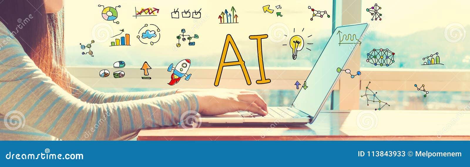 AI med kvinnan som arbetar på en bärbar dator