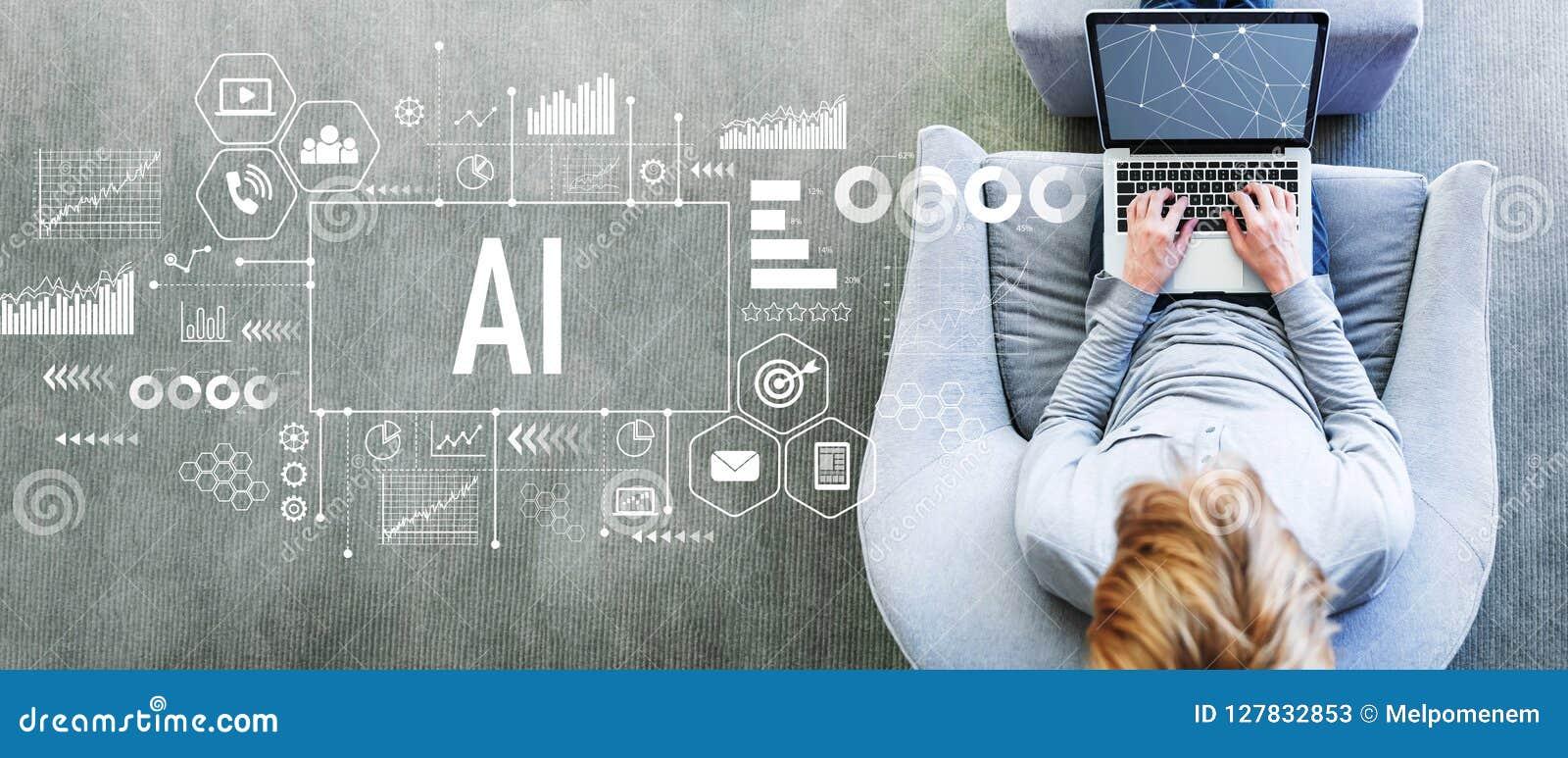 AI med mannen som använder en bärbar dator