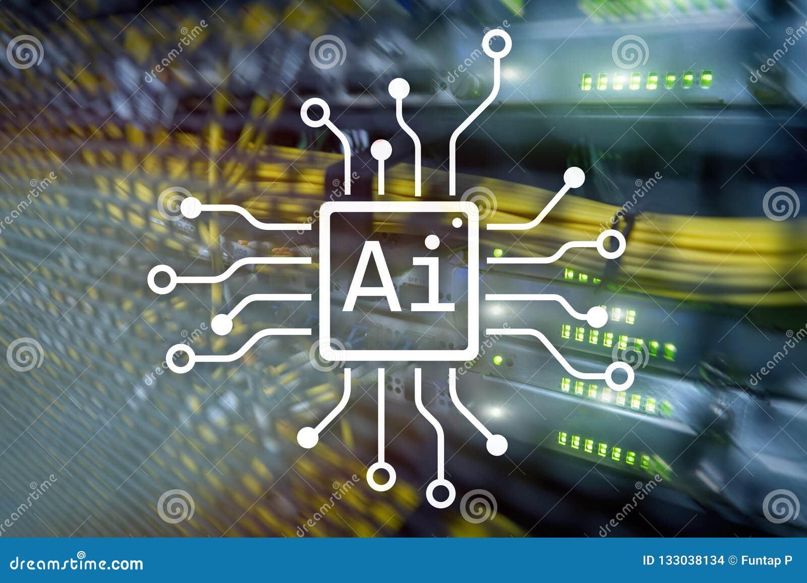 AI, Sztuczna inteligencja, automatyzacja i nowożytny technologie informacyjne pojęcie na wirtualnym ekranie,