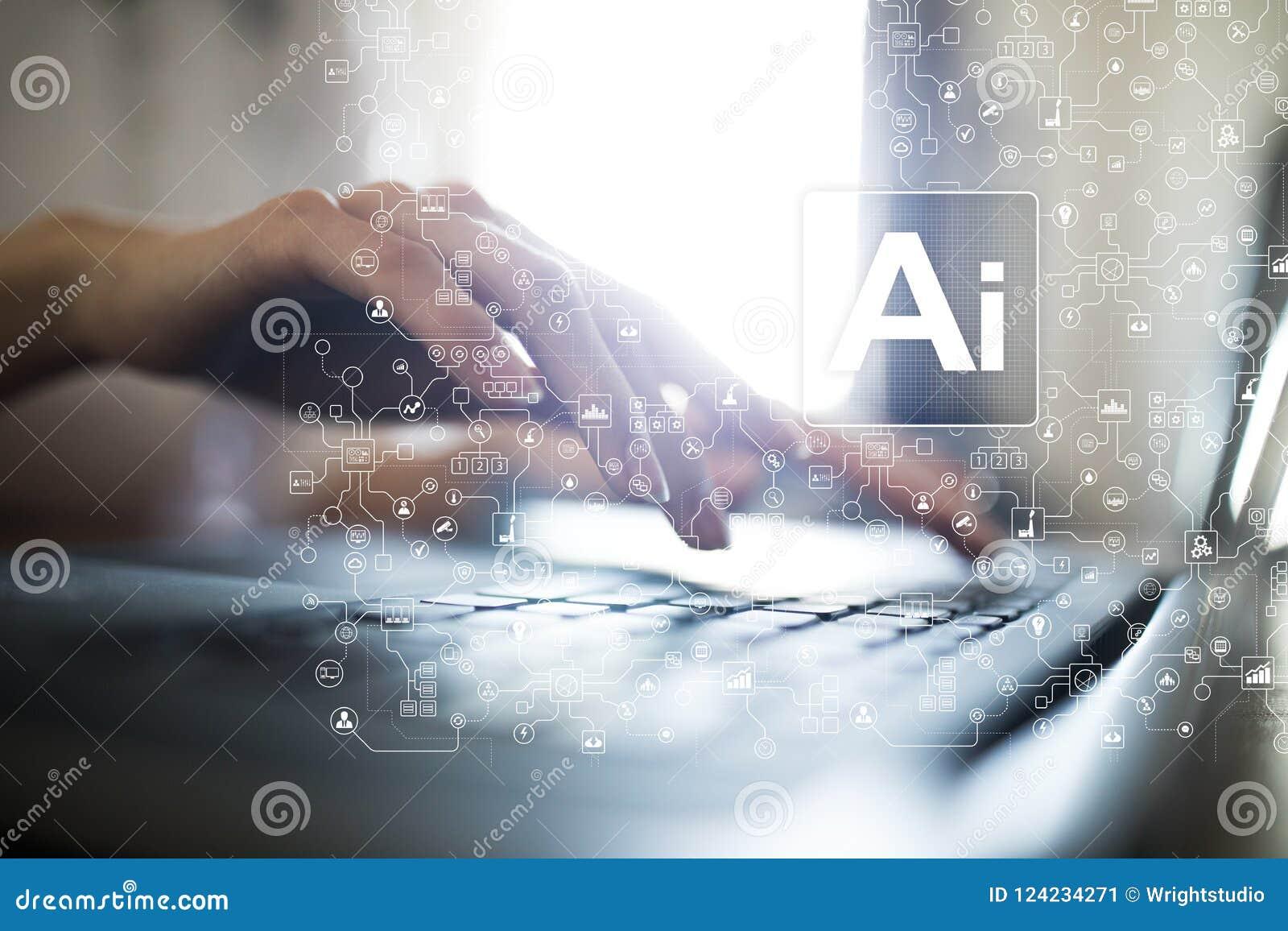 AI, Sztuczna inteligencja, maszynowy uczenie, neural sieci i nowożytni technologii pojęcia, IOT i automatyzacja
