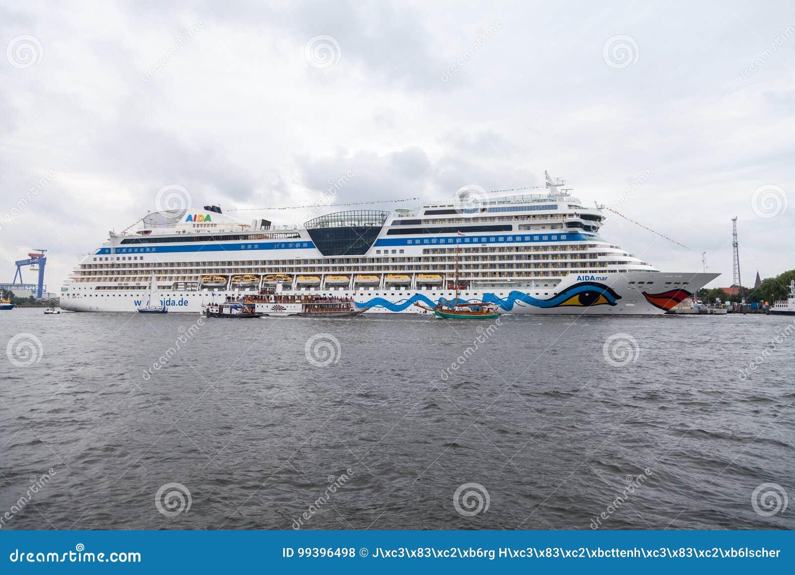 AIDA mar lies on harbour at public event hanse sail