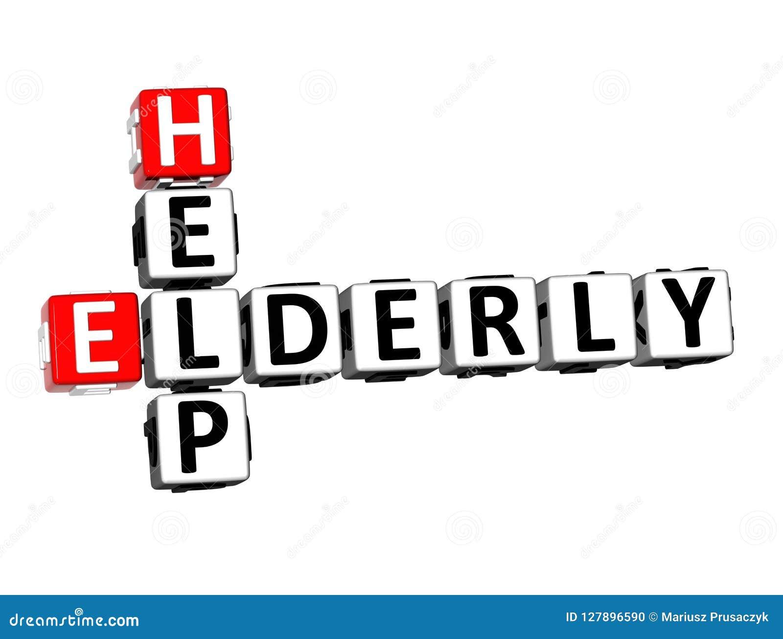 Aide Word de personnes âgées de mots croisé du rendu 3D au-dessus du fond blanc
