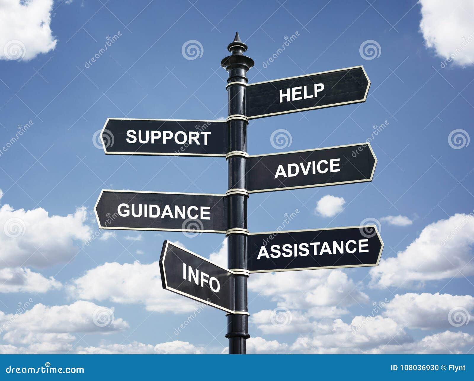 Aidez, le carrefour s soutien, de conseil, de conseils, d aide et d infos