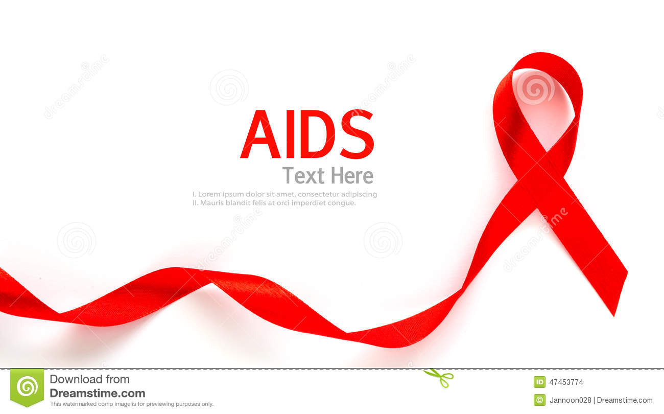 Aids Awareness Red Heart Ribbon Isolated On White Stock