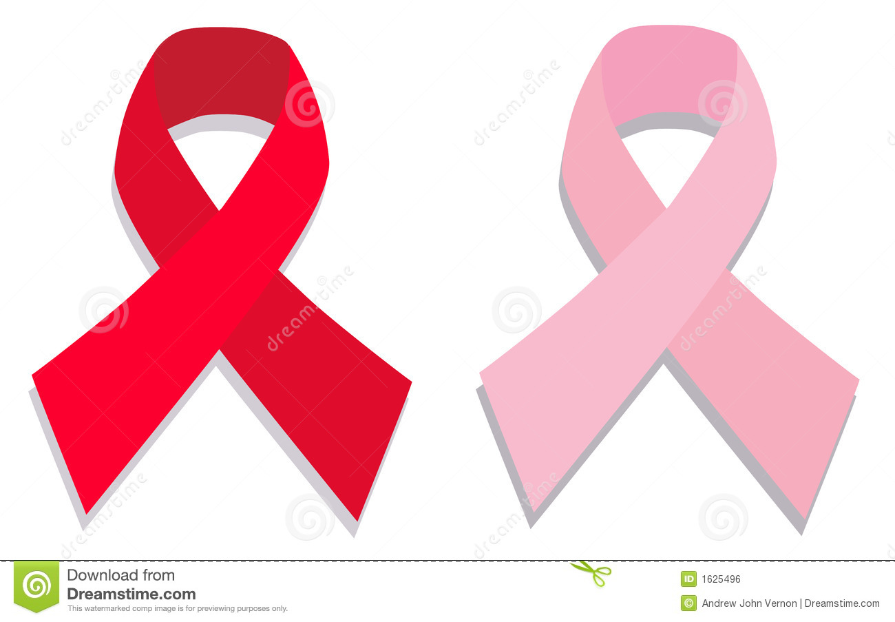... aids red and pink breast cancer ribbons with a grey dropped shadow