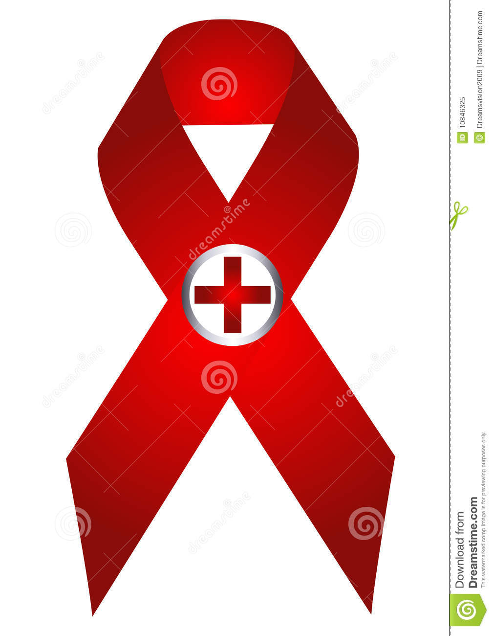 Aids symbol with red cross in white background eps.