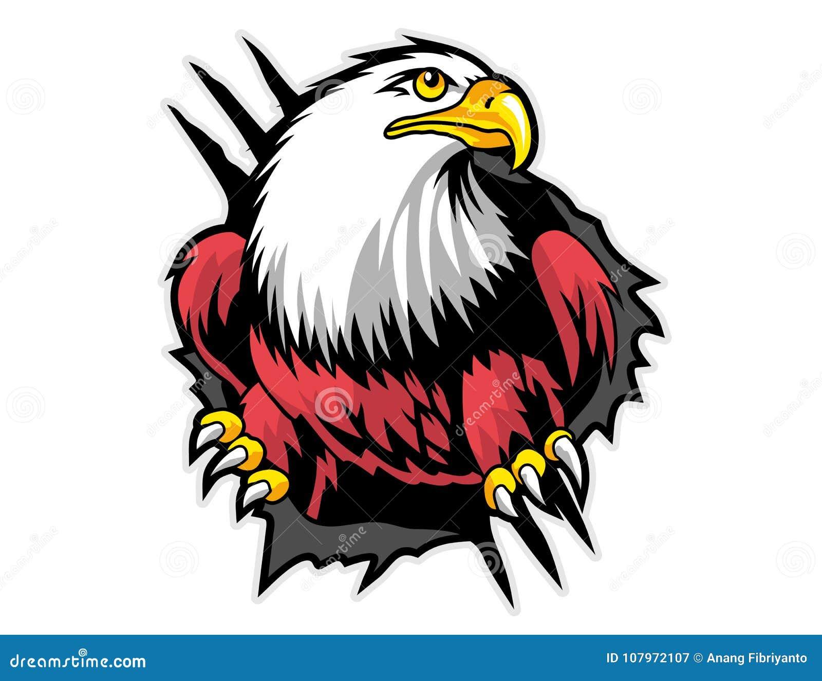 Aigle chauve de mascotte de papier déchirée de bande dessinée peut employer pour le logo de sport