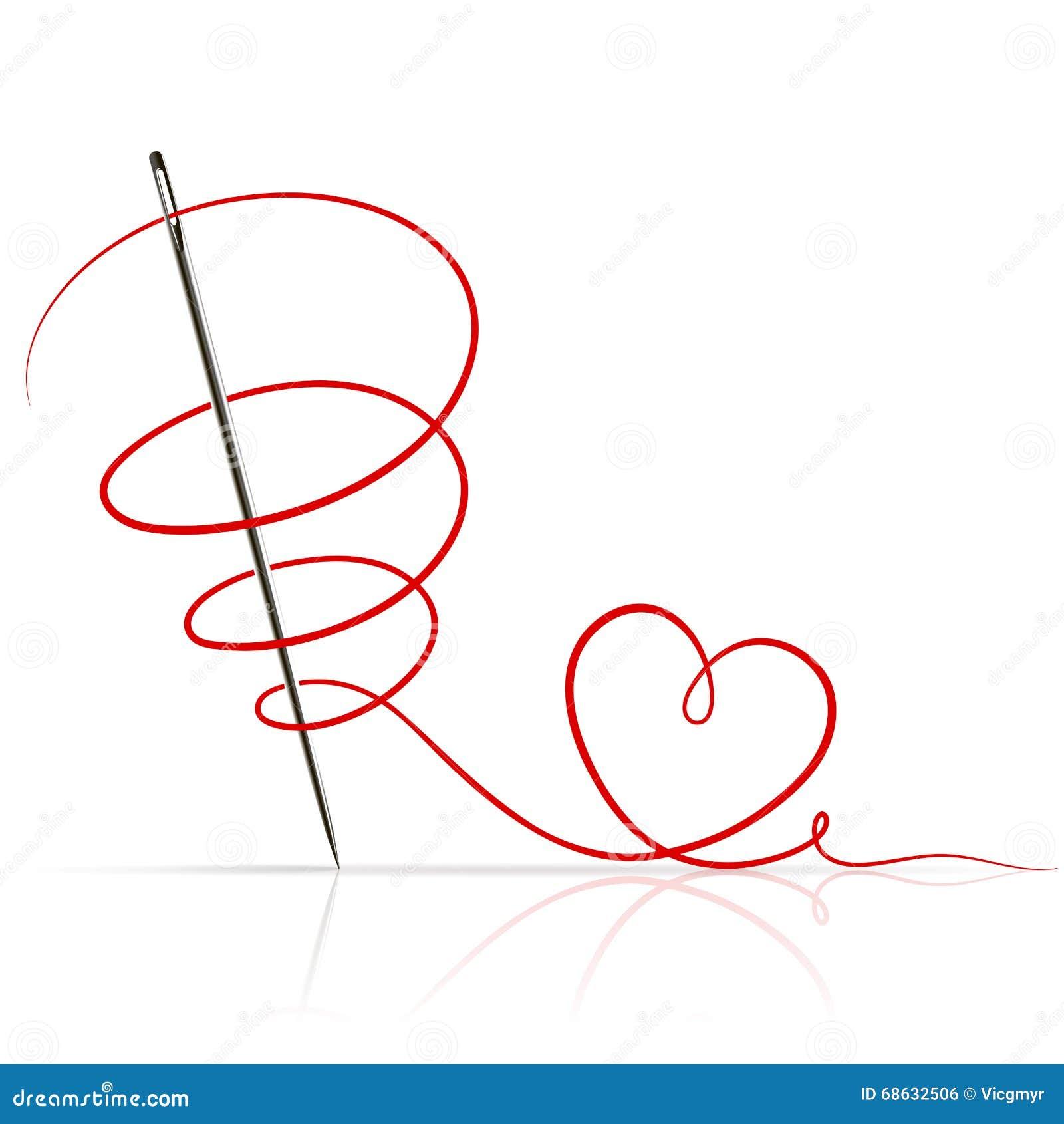 aiguille de couture avec le fil rouge illustration de vecteur image 68632506. Black Bedroom Furniture Sets. Home Design Ideas