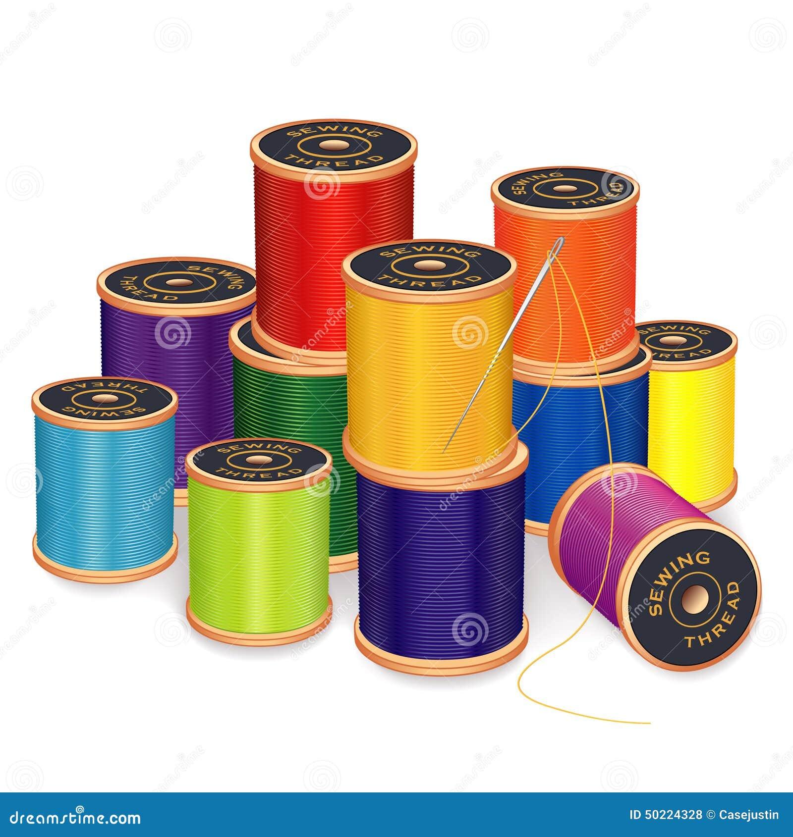 Aiguille de couture et fils couleurs lumineuses illustration de vecteur illustration du - Maison couture et fils ...