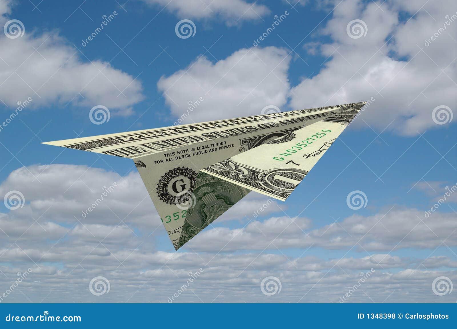 Aiirplane de papier fait en argent