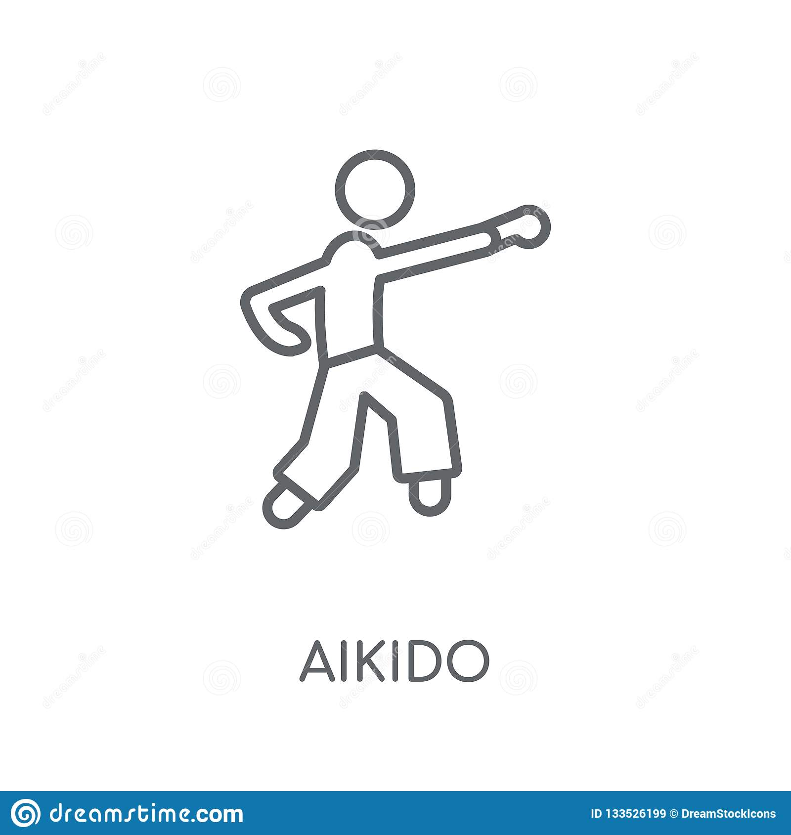 aikido linear icon. Modern outline aikido logo concept on white