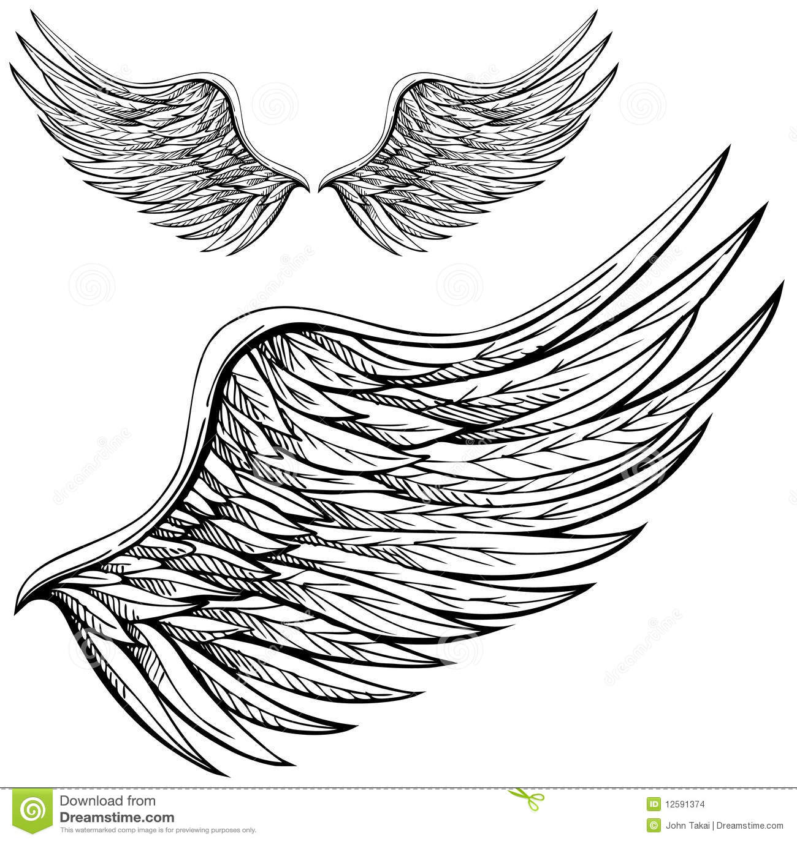 Aile d 39 ange de dessin anim images stock image 12591374 - Dessin d ange ...