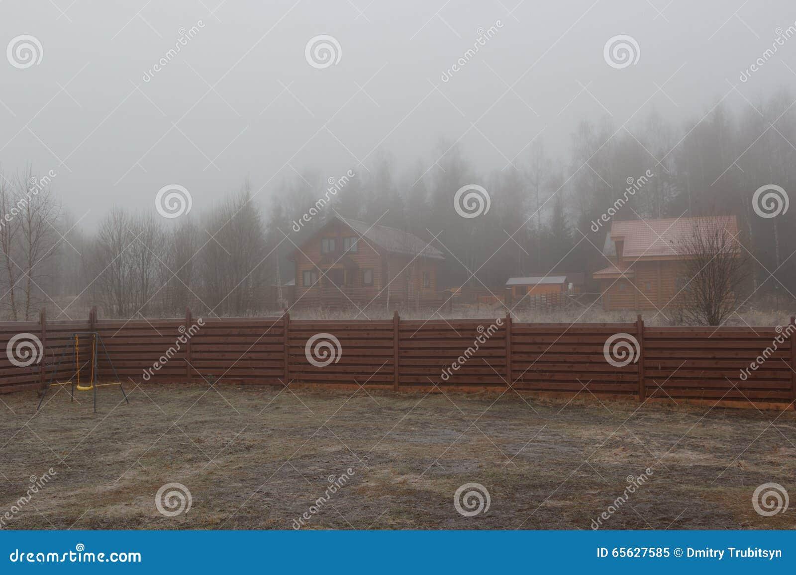 Aile d enfant sur la pelouse congelée en brume