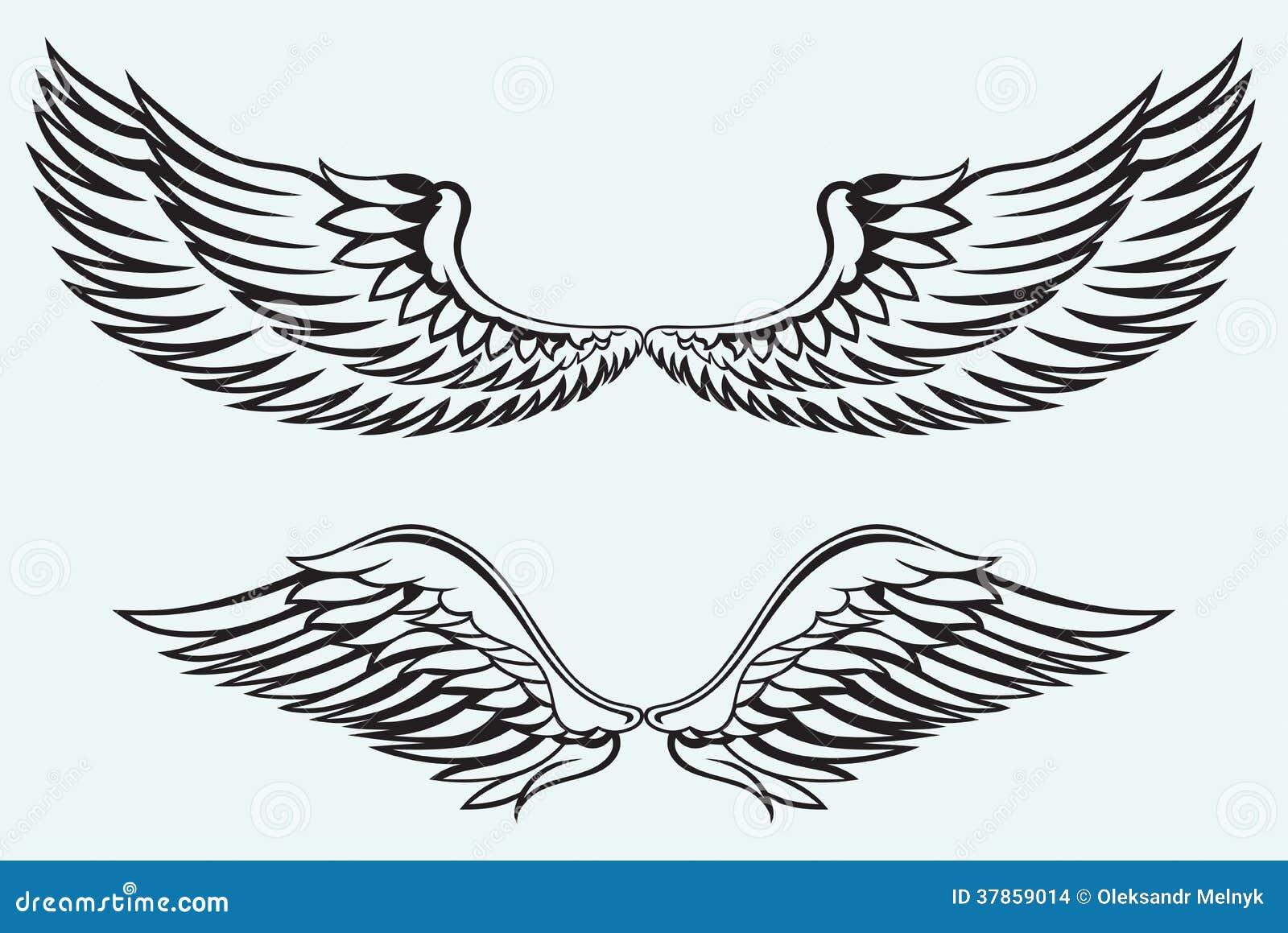 D Line Drawings Logo : Ailes d ange illustration de vecteur image du fond noir