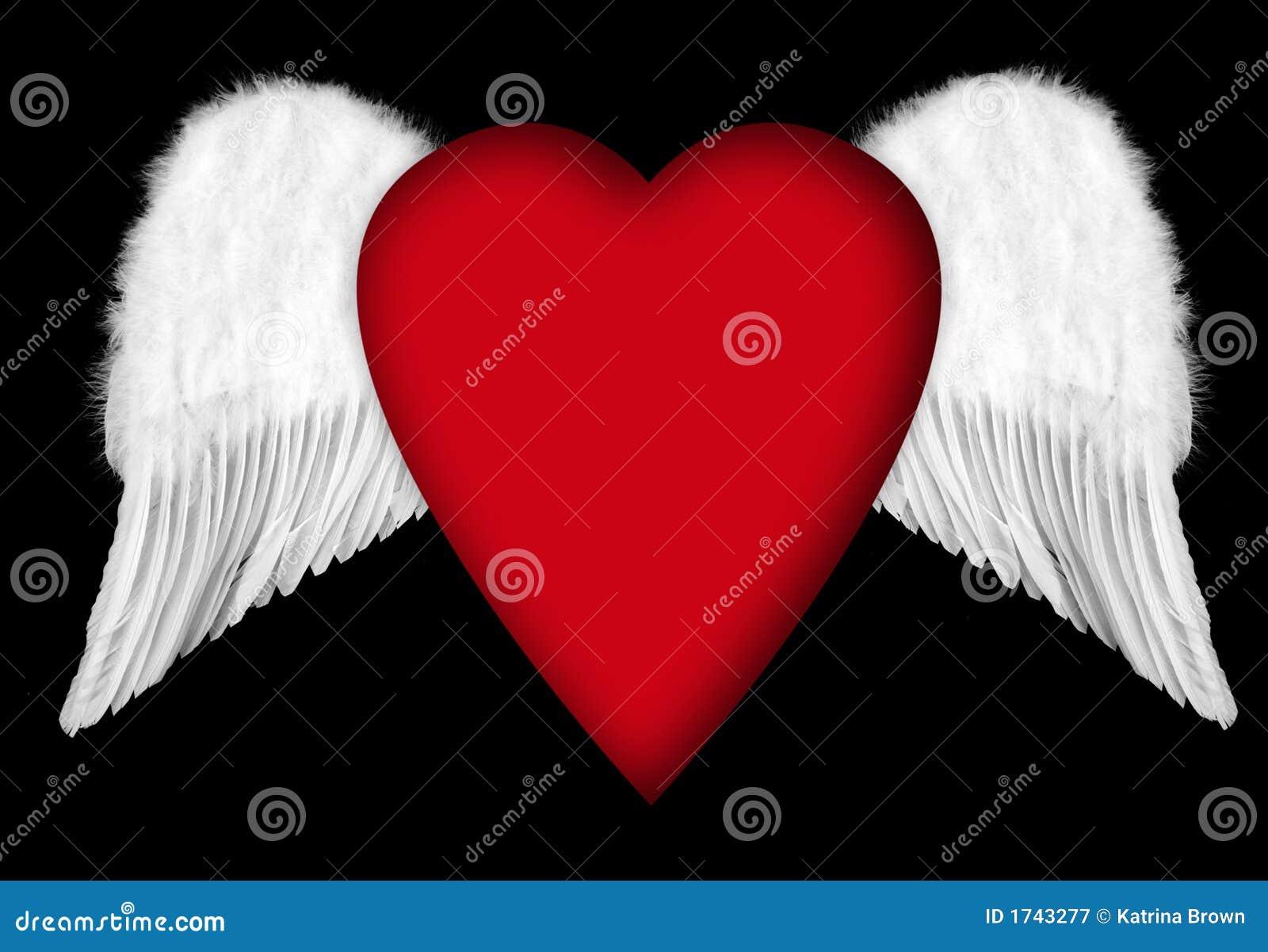Ailes d 39 ange avec le coeur de valentine illustration stock - Dessin de coeur avec des ailes ...
