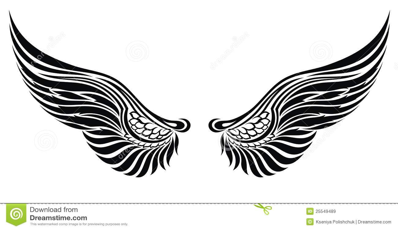 ailes d'ange d'isolement sur le blanc. conception de tatouage
