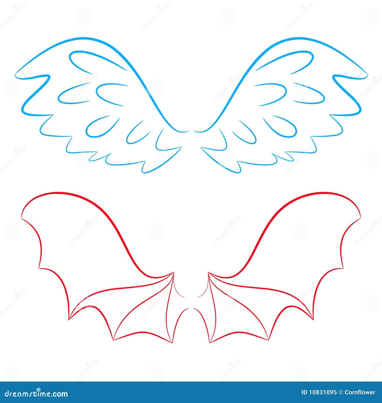 ailes d 39 un ange et d 39 un diable illustration de vecteur illustration 10831095. Black Bedroom Furniture Sets. Home Design Ideas
