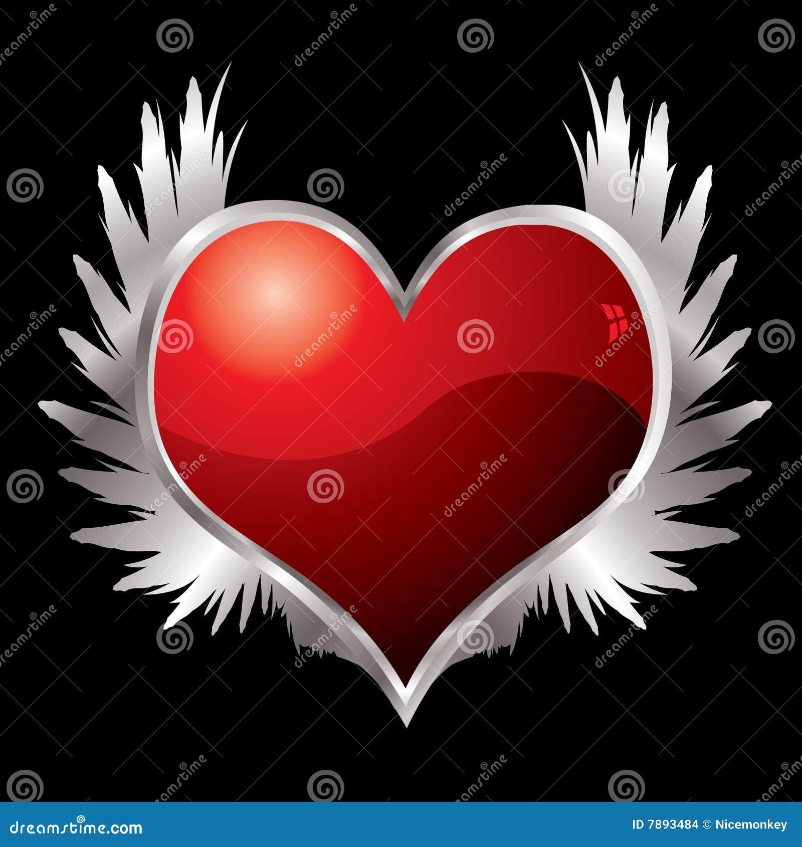Ailes de coeur d 39 amour illustration de vecteur - Photo de coeur d amour ...