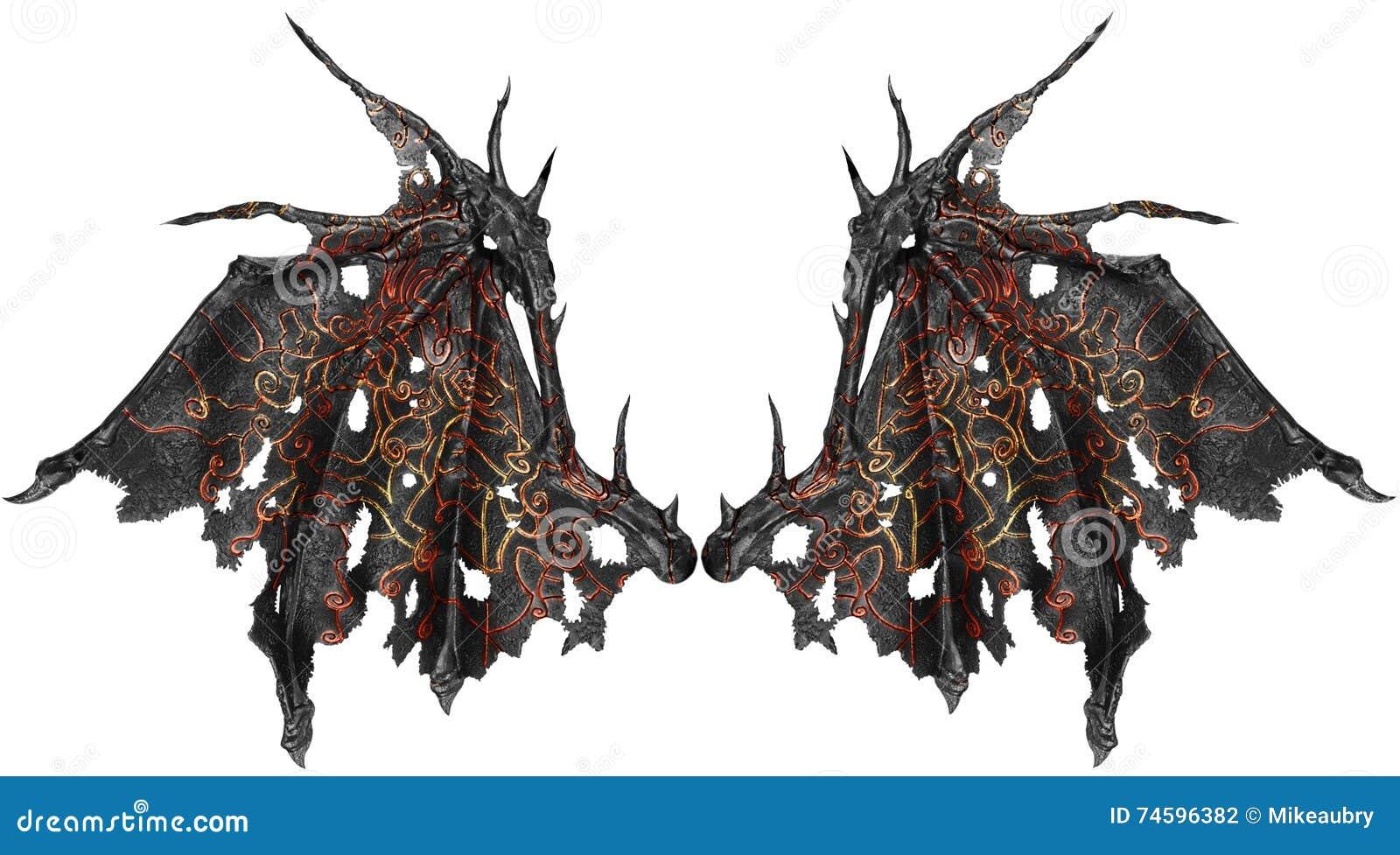 Ailes de dragon d 39 isolement sur le fond blanc photo stock - Aile de dragon dessin ...