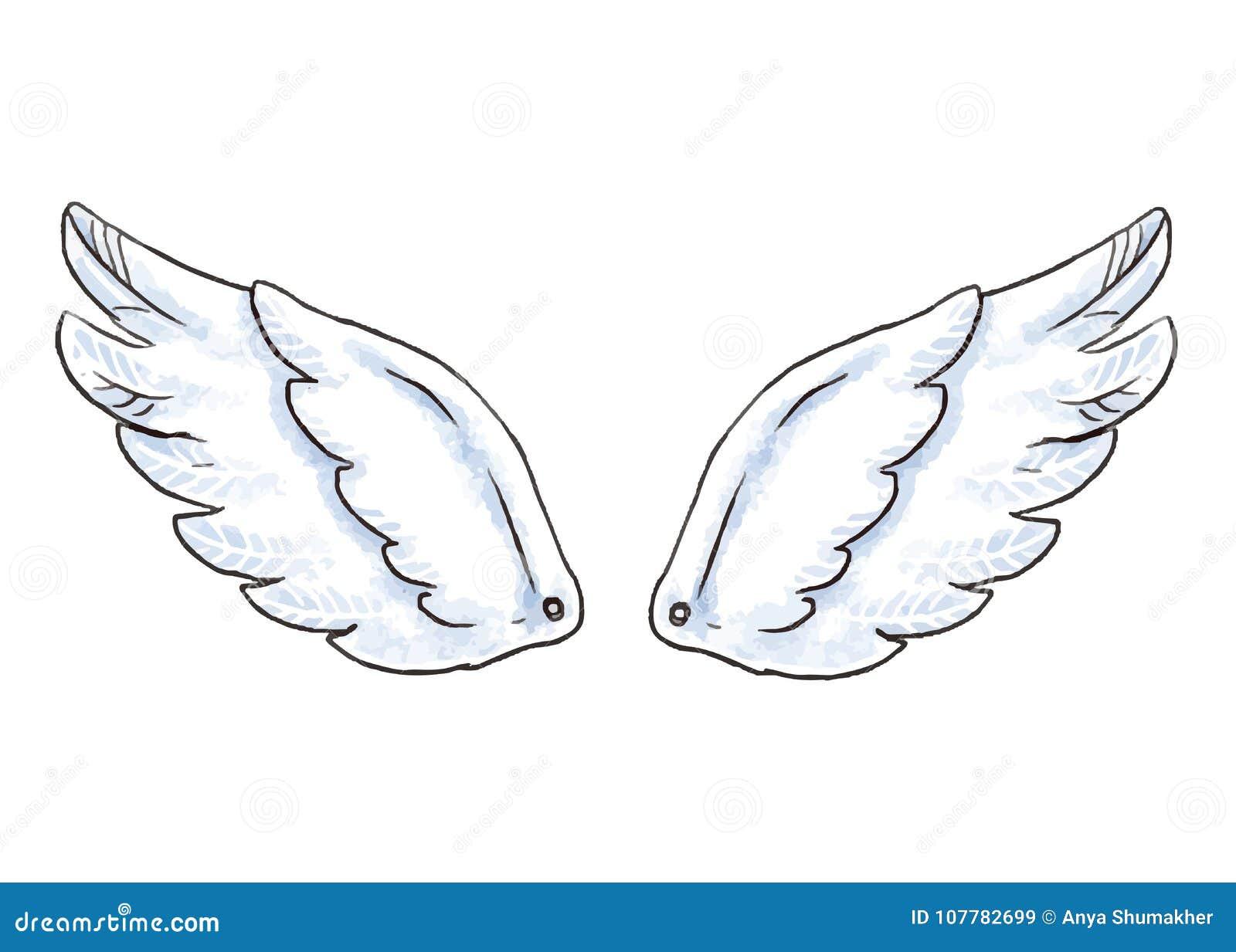 Ailes mignonnes de bande dessinée Dirigez l illustration avec l icône blanche d aile d ange ou d oiseau d isolement