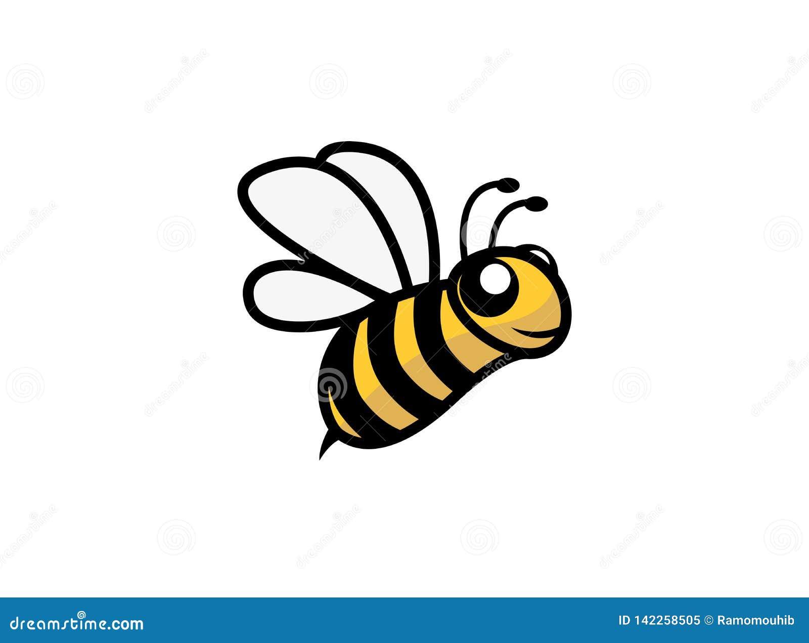 Ailes ouvertes d abeille heureuse et voler pour la conception de logo