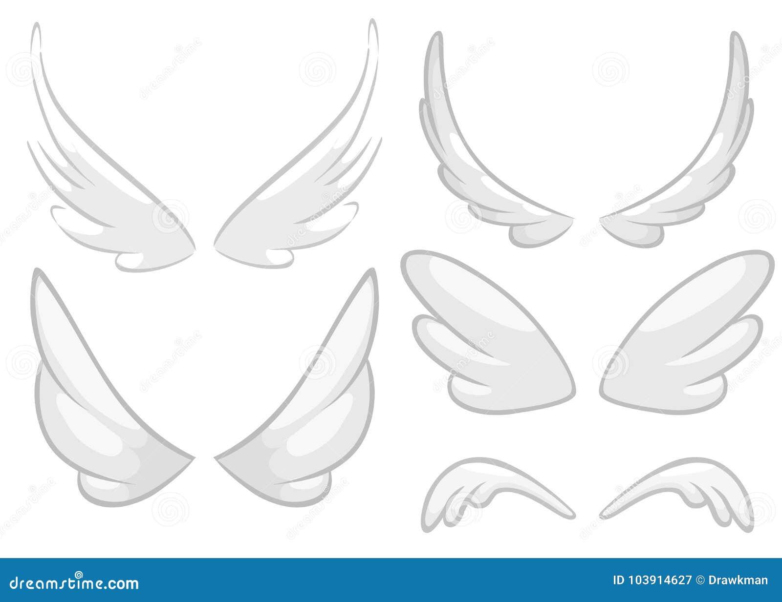 Ailes D Ange Dessin ailes tirées par la main d'ange, de fée ou d'oiseau réglées Éléments