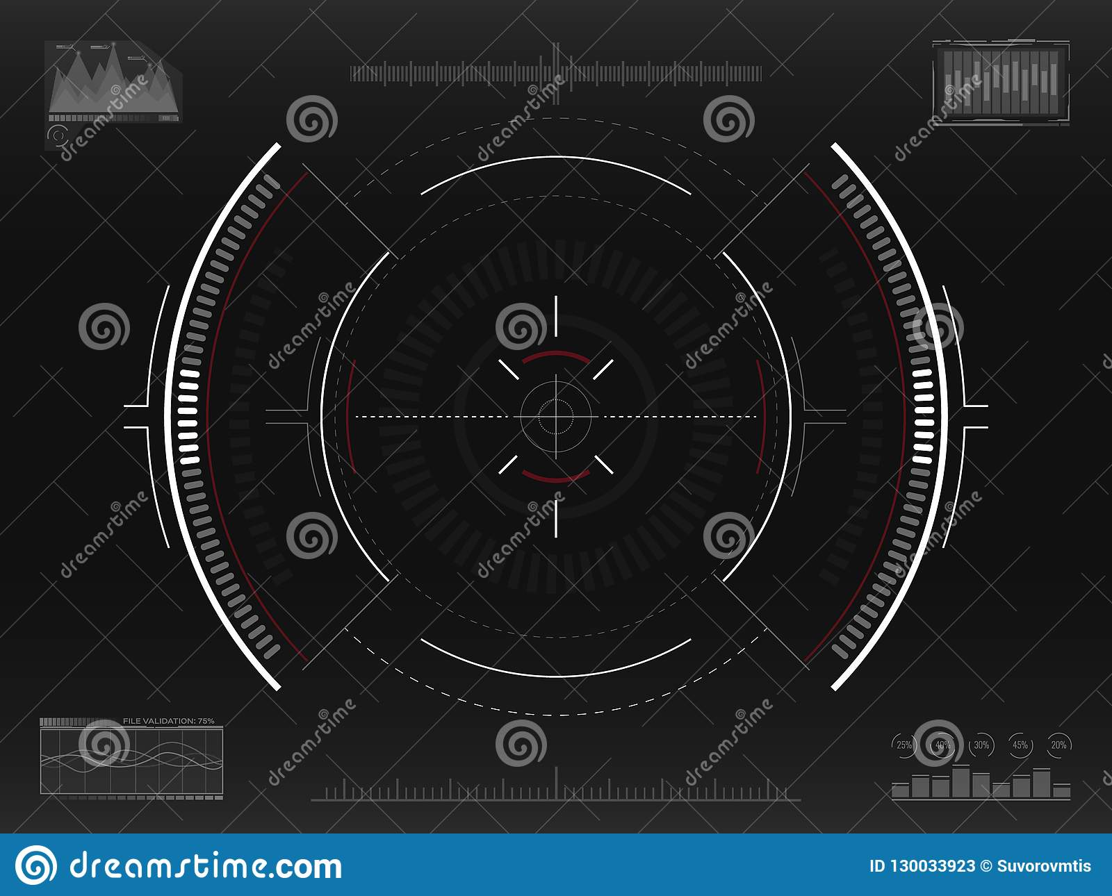 Aim system. Futuristic aiming concept. Modern crosshair. Sci-fi HUD interface. UI with infographic elements. Spaceship