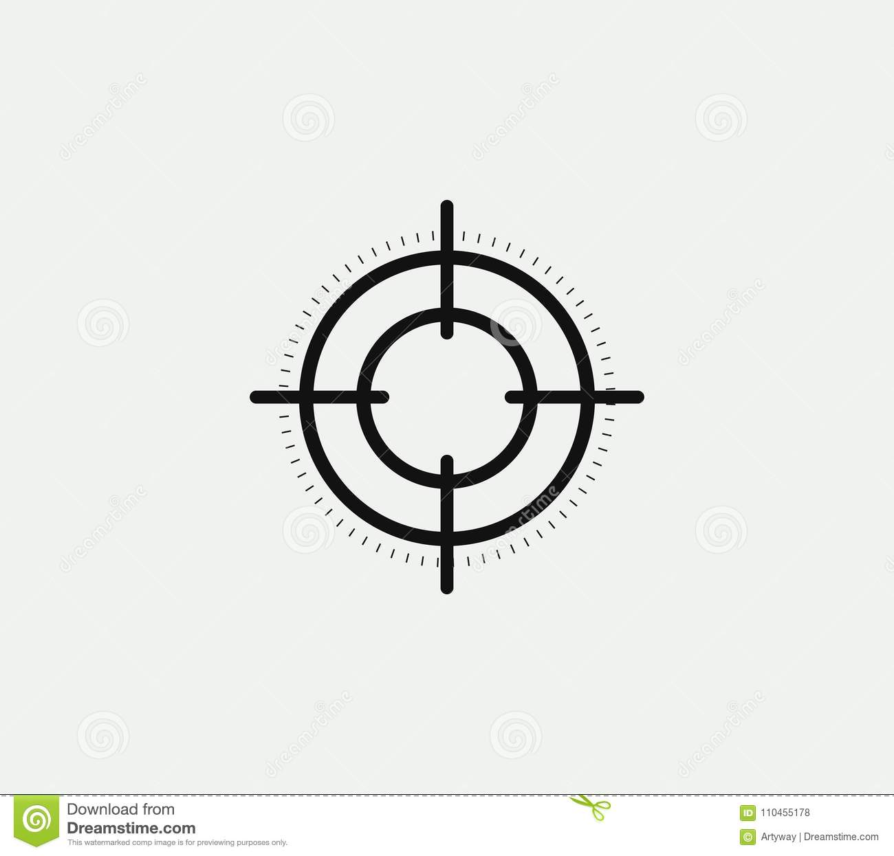 Aim Vector Linear Stylized Icon, Goal Abstract Sign, Target