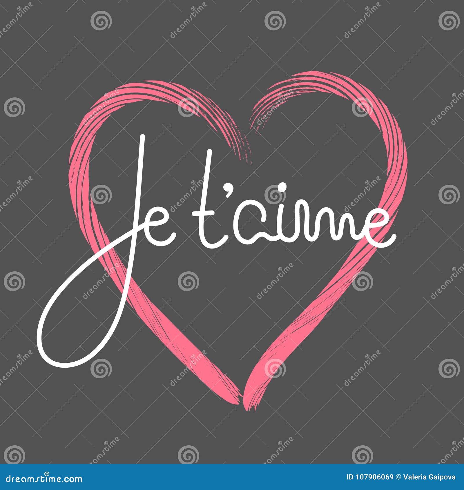 Aime del ` de Je t Letras francesas Cita romántica manuscrita Día feliz del `s de la tarjeta del día de San Valentín Día de fiest
