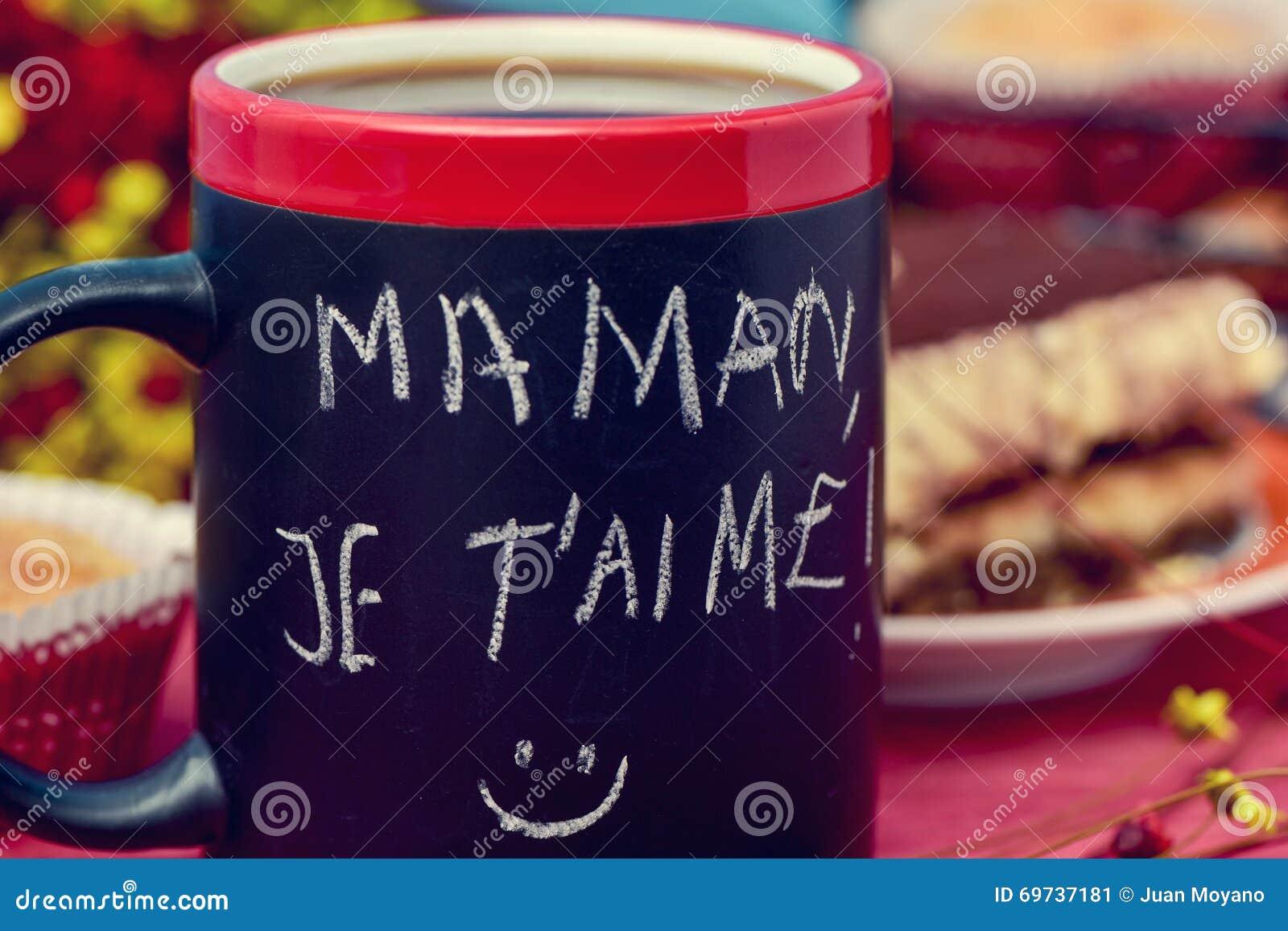 Aime Del Je T Del Maman Del Desayuno Y Del Texto Te Amo
