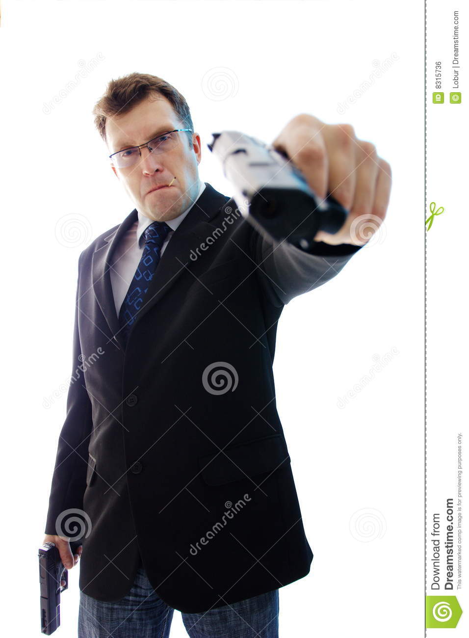 Aimed angry businessman criminal guns two