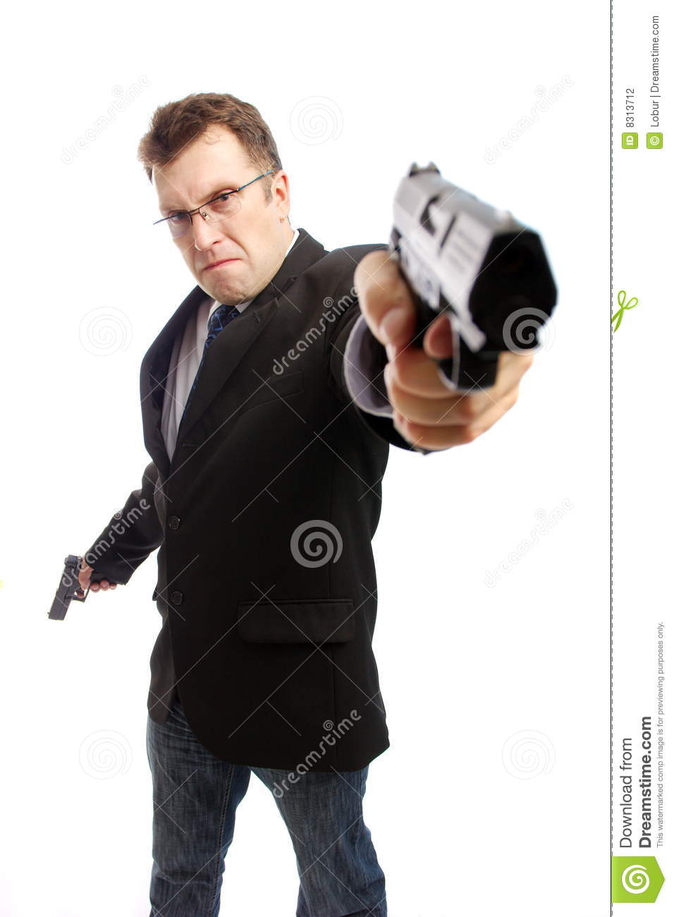 Aimed businessman criminal gun