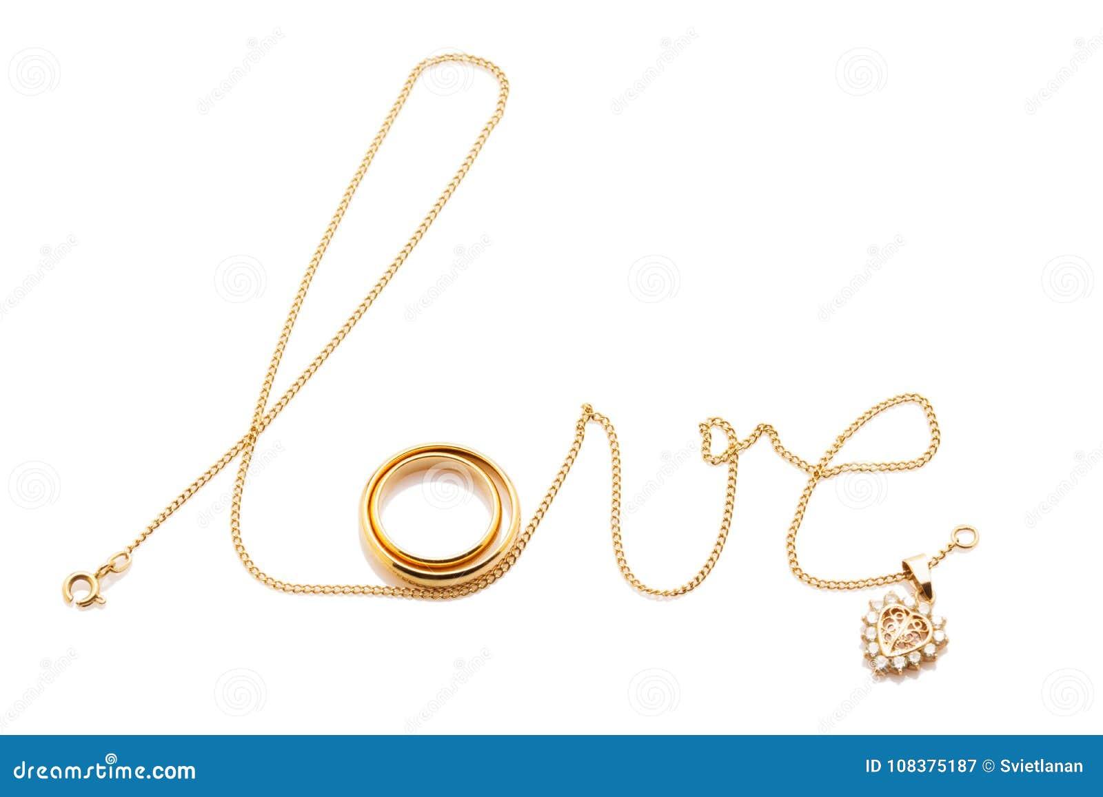 Aimez le mot de la chaîne avec des anneaux d isolement sur le blanc