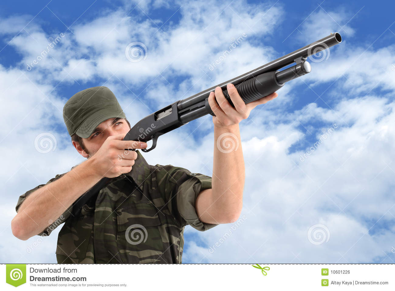 Aiming And Shooting With Rifle Stock Photo - Image: 10601226
