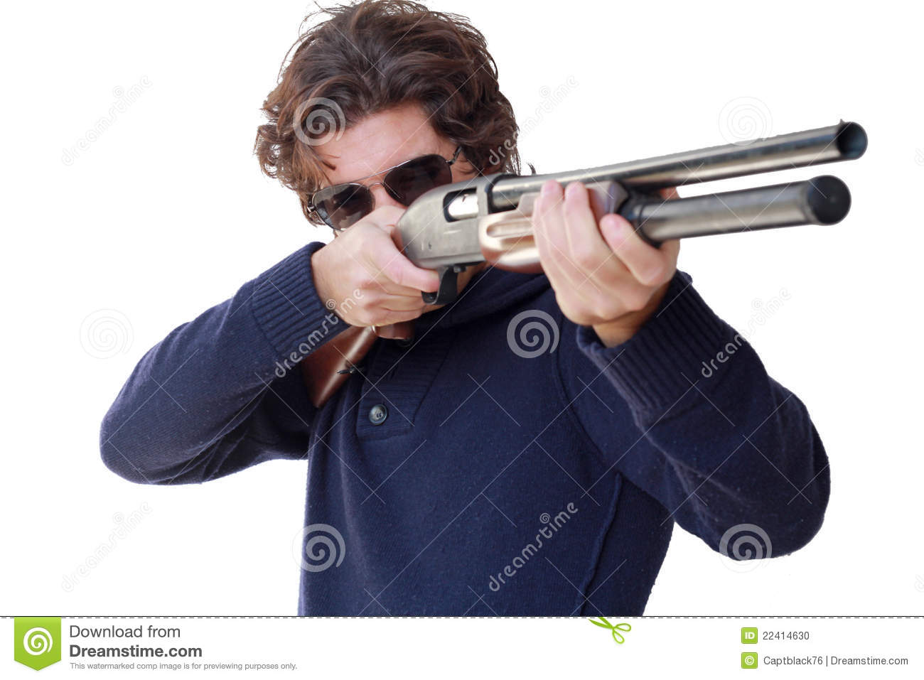 Aiming With Shotgun Isolated Stock Photo - Image: 22414630